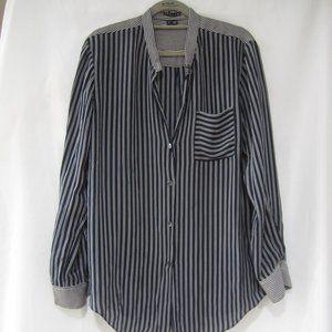 "Theory L Ziria Silk Stripe Shirt 42"""" Bust"